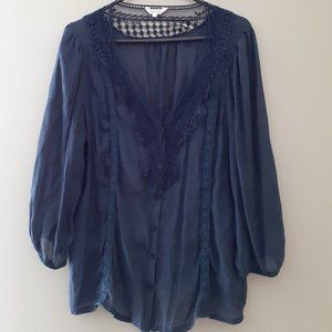 Stella Tweed Blue Lacey Top